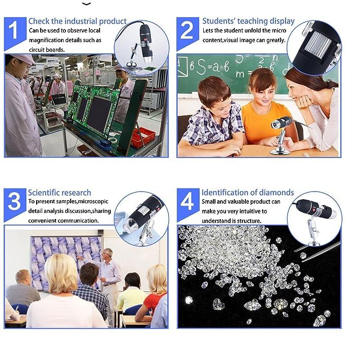 Microscopio Digital, Z-Roya 40 a 1600 aumentos endoscopio, 2 MP 8 LED USB 2.0 y microdigital Microscopio, Mini cámara con Soporte, Compatible con Mac ...