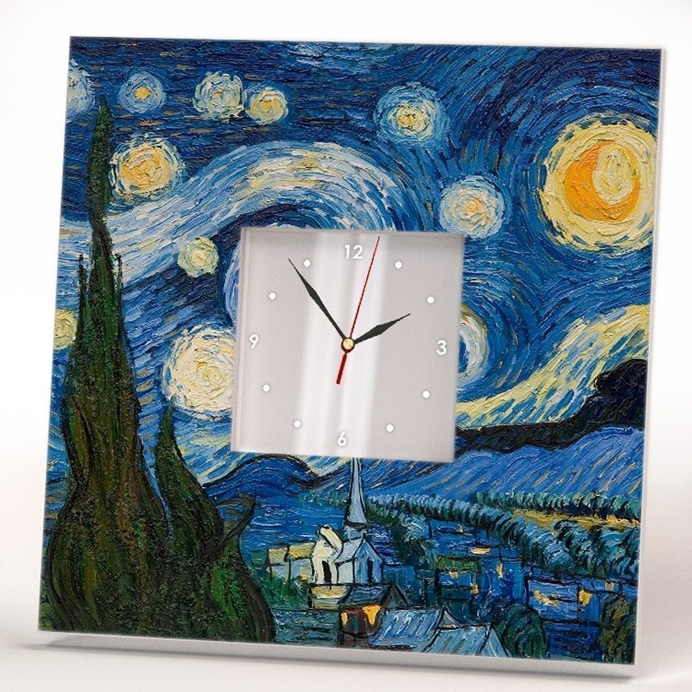 Starry Night Square Wall Clock Frame Mirror Vincent Van Gogh Picture Art Decor Unique Design Gift