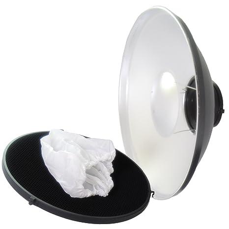 Beauty Dish DynaSun S56 56cm Plato de belleza Blanco/Plateado para Bowens con Rejilla y