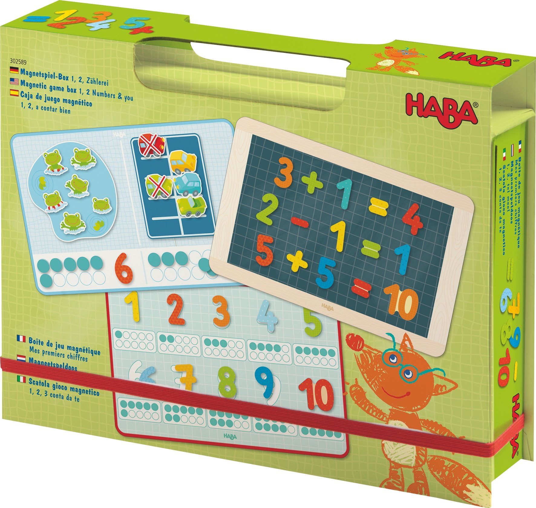 HABA Magnetic Game Box Numbers - 1 2 3 Numbers & You - 158 Magnetic Pieces in Travel Cardboard Carrying Case