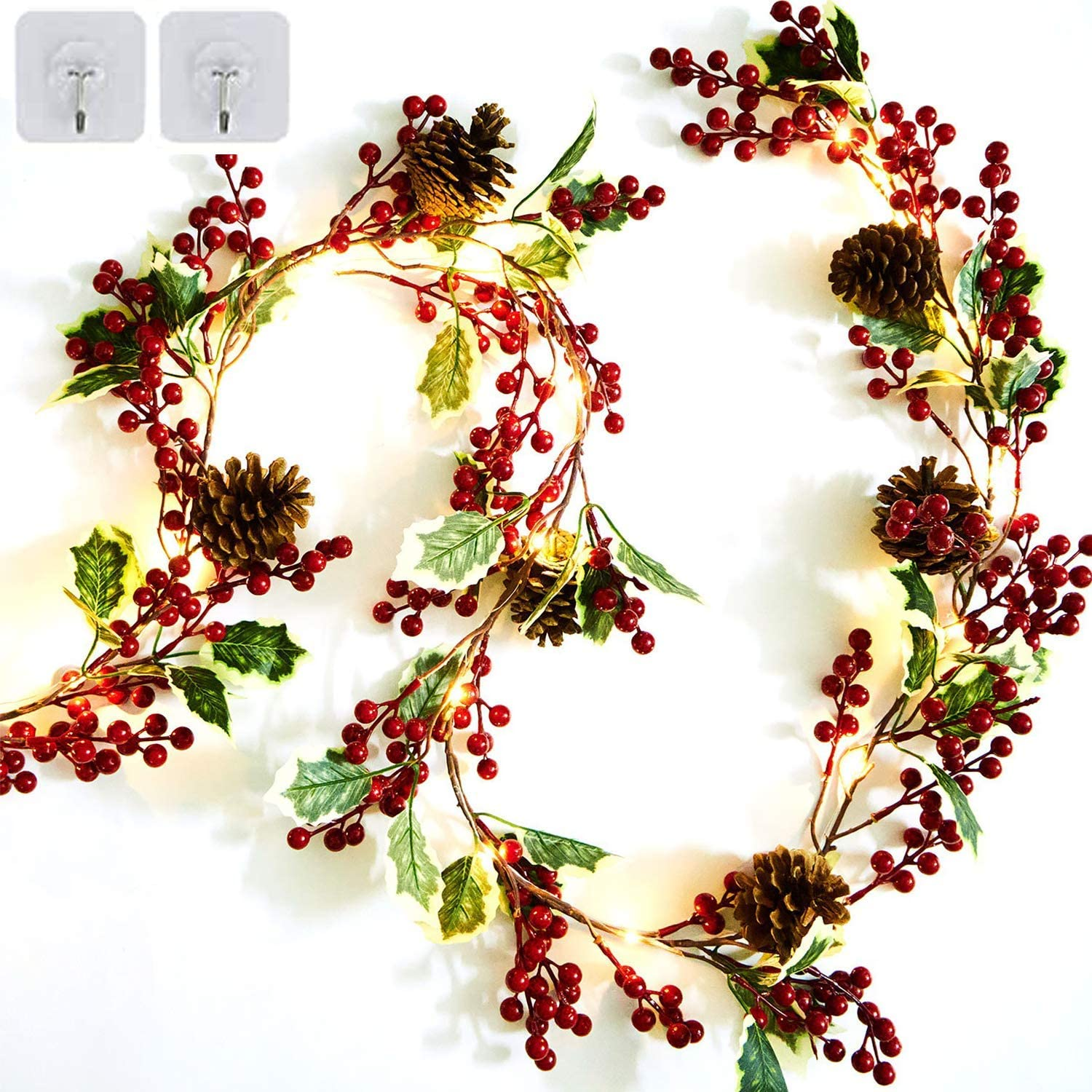 6.5FT Red Berry Christmas Garland Preload 20 Warm Decor Christmas Indoor Outdoor Artificial Garland with Pine Cone and Green Leaves Decor Home Fireplace Stairs Table Winter Holiday (Red-B)