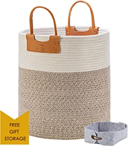 """Large Woven Storage Basket, Tall Cotton Rope Baskets for Blankets with Leather Handles, Decorative Clothes Hamper Basket for Living Room, Baby Kids Room Toy Baskets, Use for Sofa Throws Pillow 15x 18"""""""