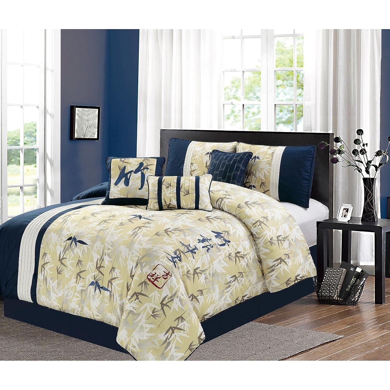 eLightホーム風水刺繍7 Piece Comforter Set Queen B077NWNDLS