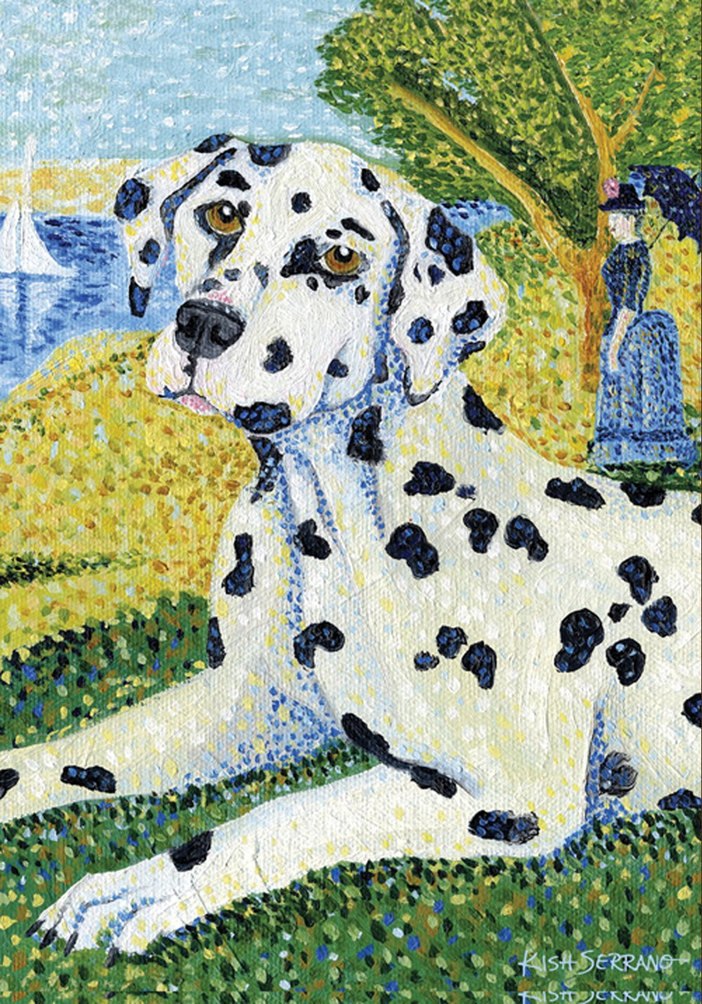 Toland Home Garden Grrrault Dalmation 12.5 x 18 Inch Decorative Classic Puppy Dog Portrait Painting Design Garden Flag