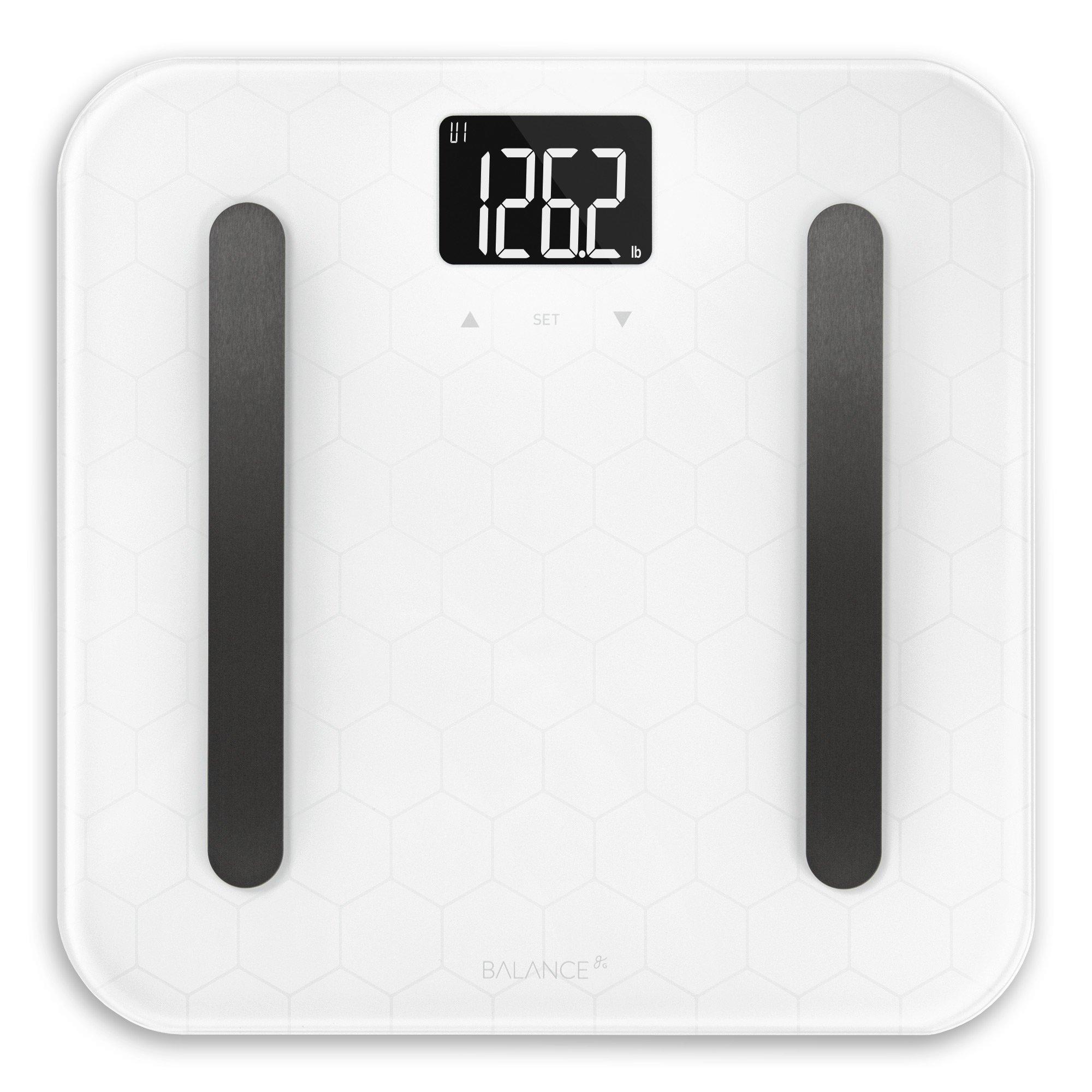 Designer Glass Body Composition White Bathroom Scale from GreaterGoods (White Body Composition)