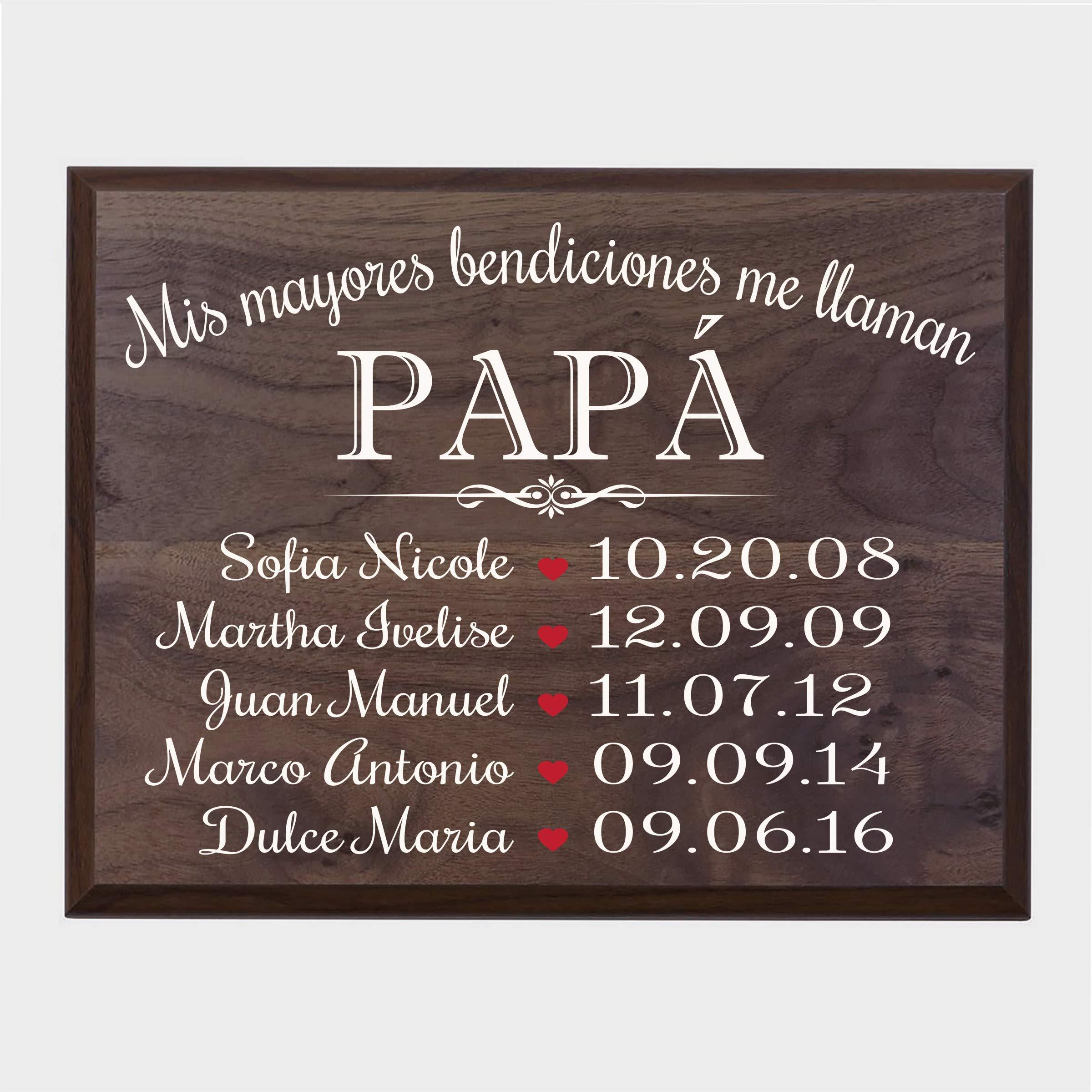 LifeSong Milestones Bendiciones familiares personalizadas Wall Plaque Regalo para Padres, Abuelos, mamá o papá con nombres de niños y fechas de nacimiento de 12''x 15'' (Walnut) by LifeSong Milestones (Image #1)