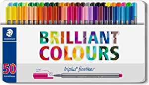 Staedtler 334 0.3 mm Fineliner Superfine Point Pens - Assorted (Pack of 50)