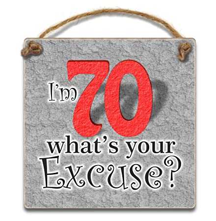HmHome Im 70 Whats Your Excuse Hanging Plaque