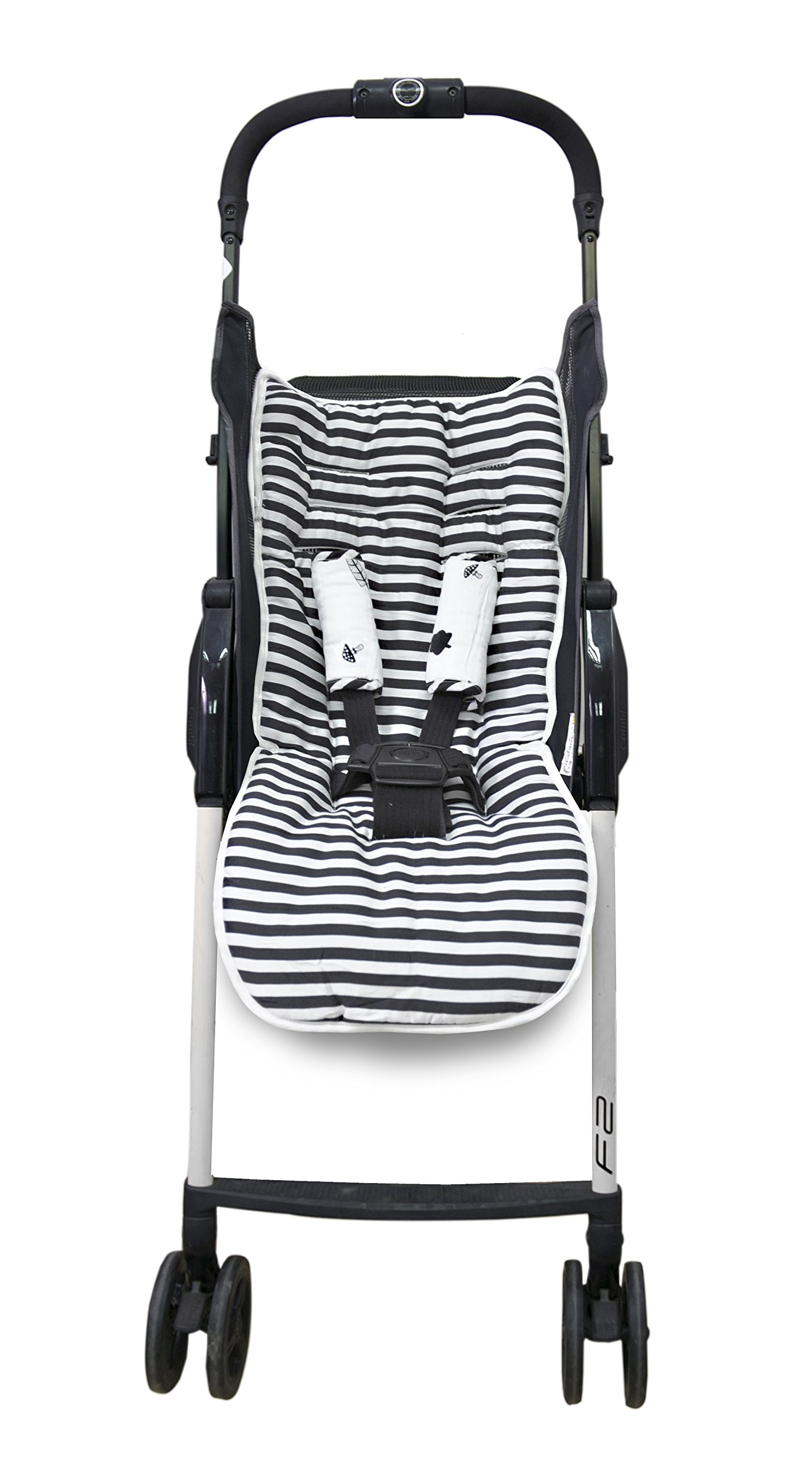 toTs Stroller Liner + Padded Safety Strap Covers, Forest, Black & White by toTs (Image #1)