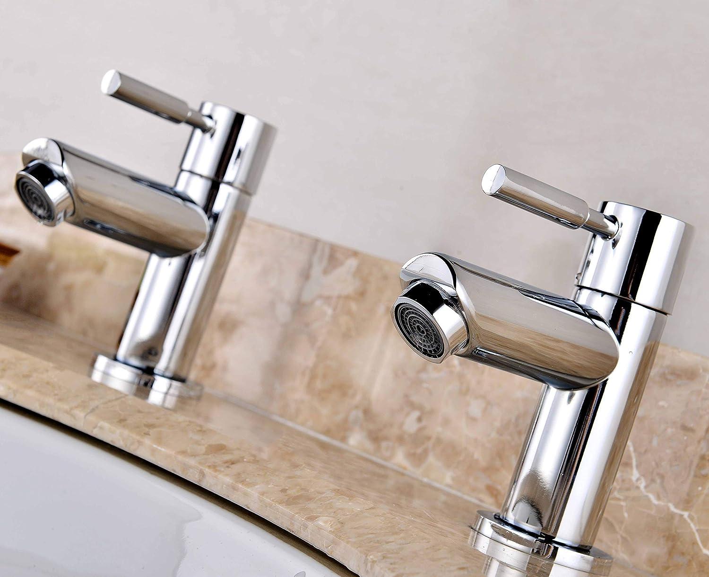 One Pair Bath Tub Taps Bathroom Bath Sink Tap Chrome Finish Washing Sink Filler Brass Mixer Faucet Single Lever