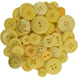 BUTTONS GALORE BIG BAG OF COLORFUL CRAFT & SEWING BUTTONS 5.5 OZ (APPROX 225 PCS) LEMON YELLOW
