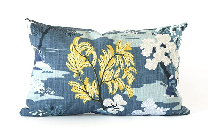Amazon Peacock Teal And Mustard Asian Lumbar Pillow Cover 40x40 Delectable Asian Pillow Covers