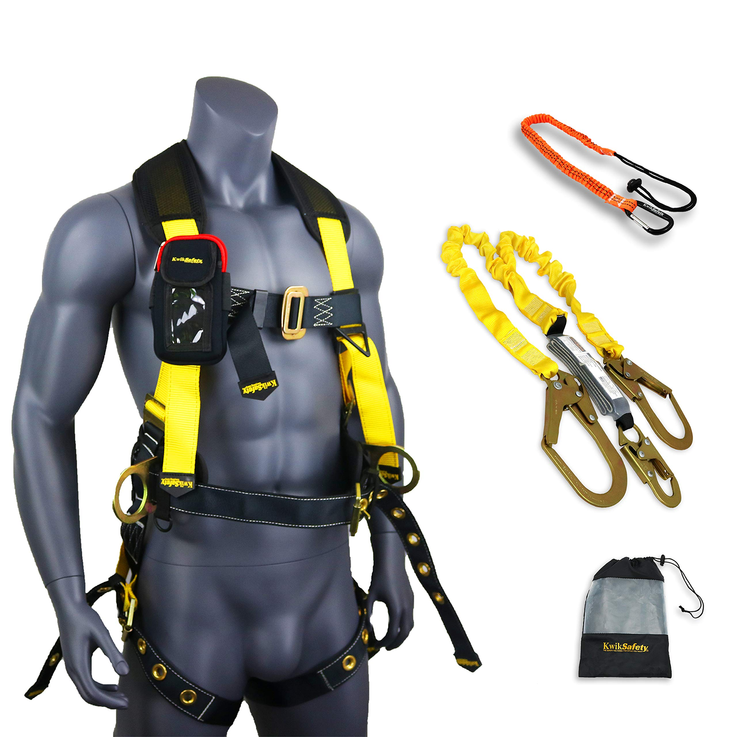 KwikSafety (Charlotte, NC) TYPHOON COMBO | 3D Full Body Tongue Buckle w/Back Support Safety Harness, Bolt Pouch, 6' Lanyard, Tool Strap, ANSI PPE Fall Protection Equipment Construction Bucket by KwikSafety (Image #1)