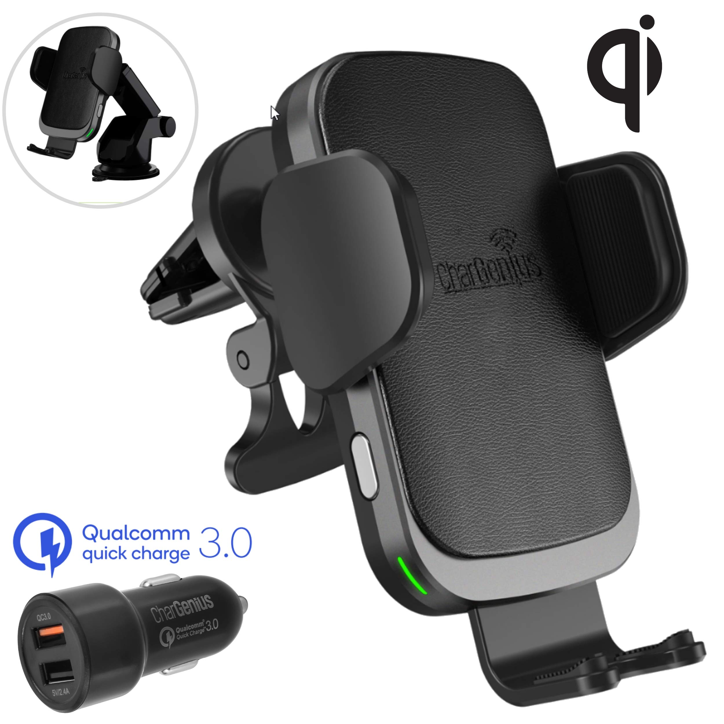 CharGenius Wireless Car Charger Mount, 10W Qi Fast Charging Auto Clamping, Dashboard Windshield Air-Vent Holder CD Mount for Samsung Galaxy S10+/S10/S9+/S9/S8+/S8/S7/Note9/8 or iPhone Xs/Max/XR/X/8+/8 by CHARGENIUS