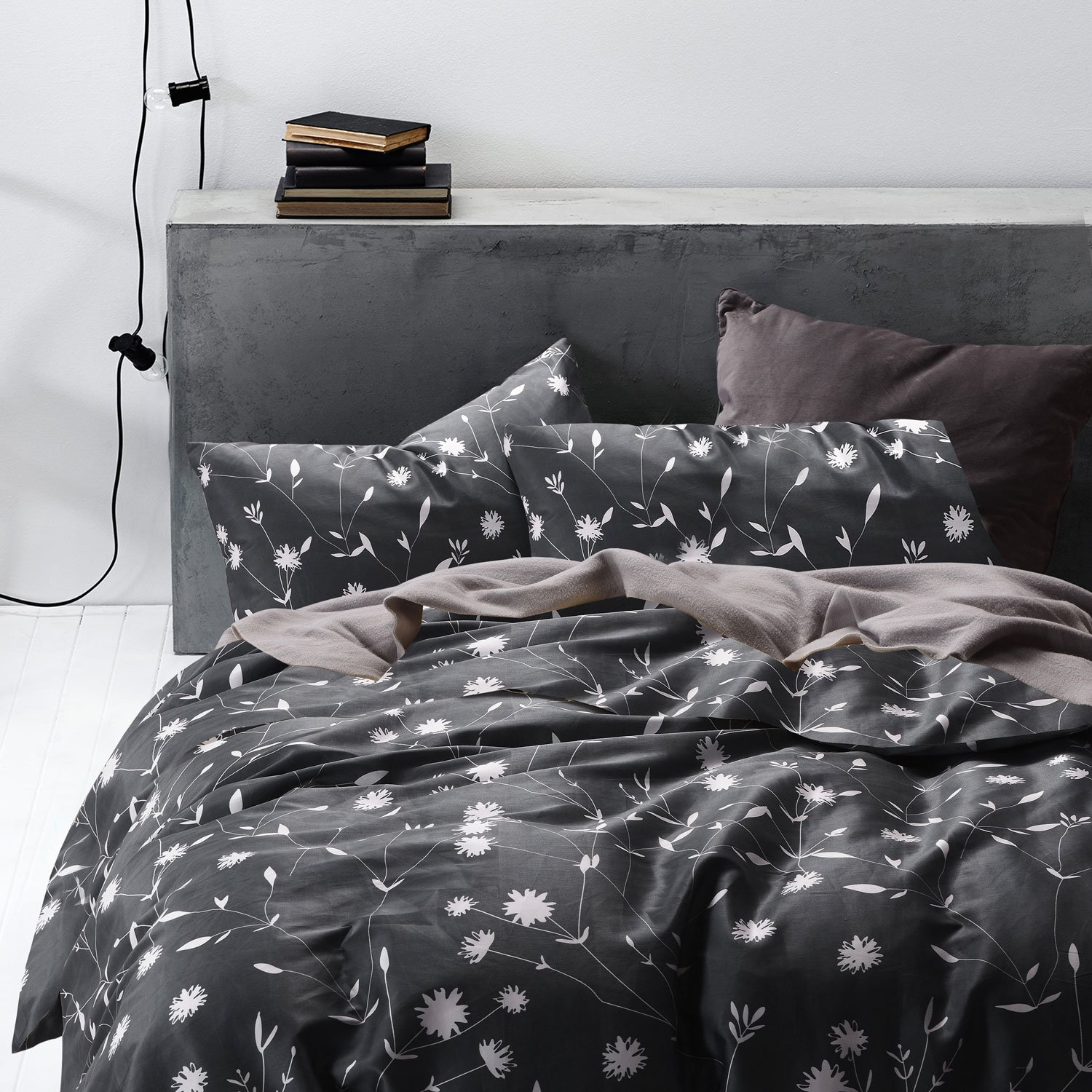 Dark Gray Duvet Cover Set,100% Cotton Bedding, White Floral Flower Pattern Printed on Grey with Zipper Closure and Corner Ties