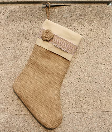 handmade burlap christmas stocking natural jute holiday decoration with rose decor 15 bare burlap - Burlap Christmas Stocking