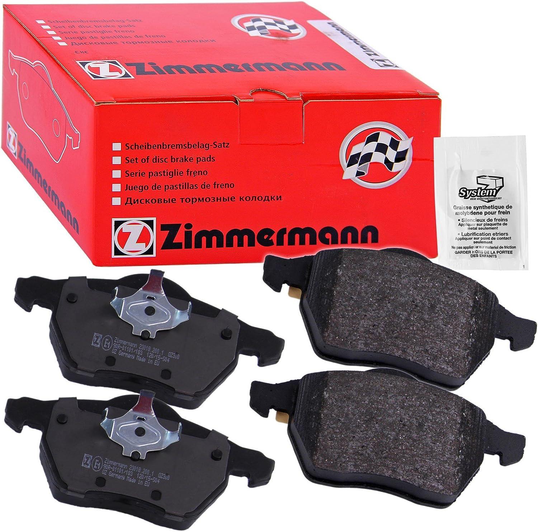 inklusive Platte d/ämpfend ZIMMERMANN 23793.200.1/Serie Bremsbel/äge vorne mit Vorbereitung Sensoren