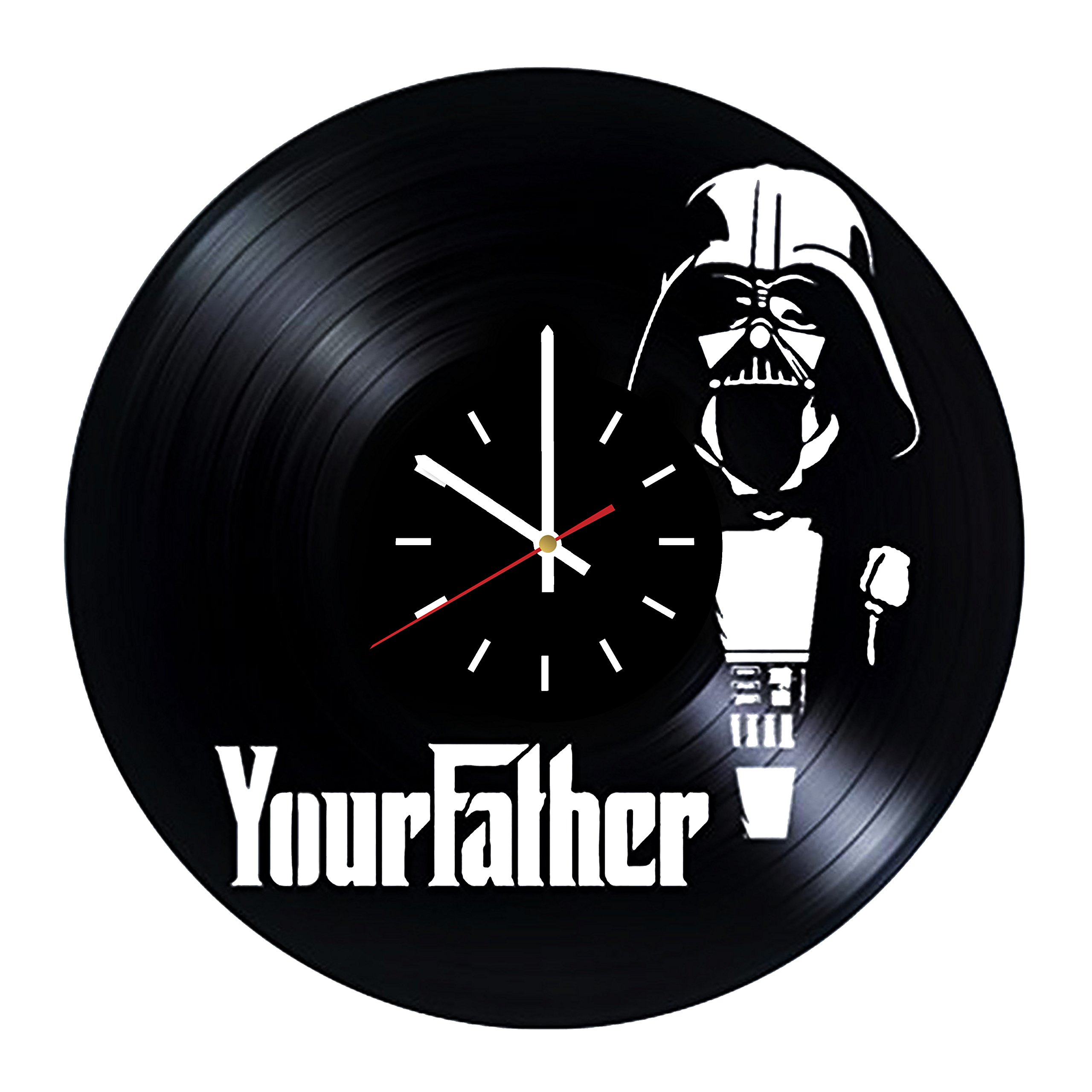 Everyday Arts Darth Vader Your Father Design Vinyl Record Wall Clock - Get Unique Bedroom or Garage Wall Decor - Gift Ideas for Friends, Brother - Darth Vader Unique Modern Art
