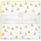 SwaddleDesigns Ultimate Swaddle Blanket, Made in USA, Premium Cotton Flannel, Yellow Jewel Tone Little Chickies