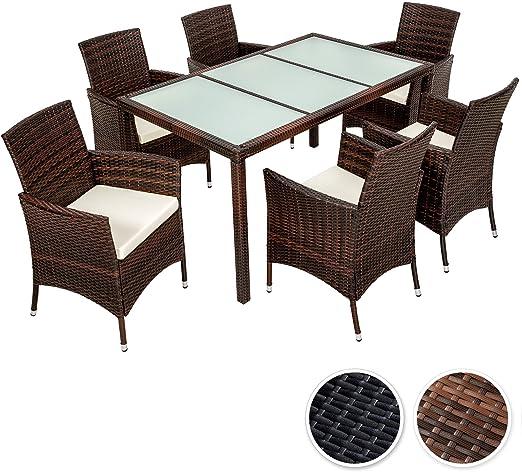 TecTake Poly Ratán sintético Conjunto de Muebles de jardín Comedor Juego Mesa Silla 6+1 - disponible en diferentes colores - (Negro Marrón | No. 401994): Amazon.es: Hogar
