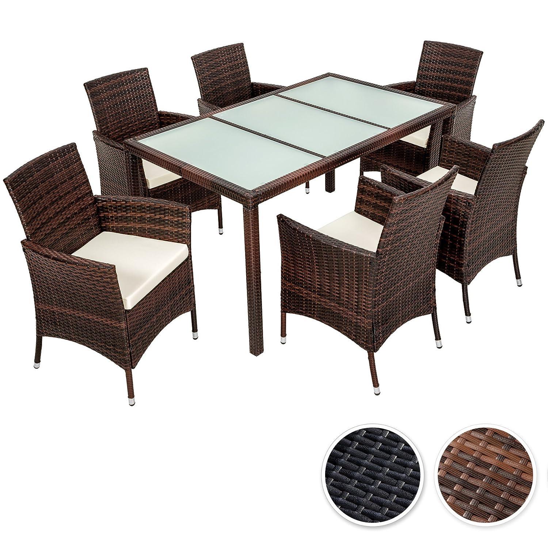 tectake poly rattan gartenm bel gartengarnitur essgruppe sitzgruppe 6 1 diverse farben. Black Bedroom Furniture Sets. Home Design Ideas