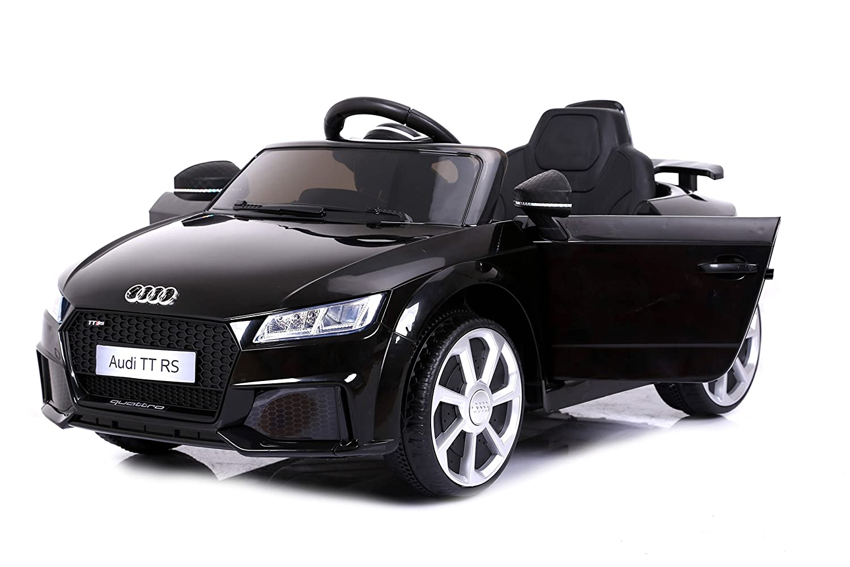 Ruedas Suaves de EVA RIRICAR Audi TT RS Licencia Original Arranque Suave Bater/ía de 12 V Motor 2X 2.4 GHz teledirigido Asiento de Cuero Negro Bater/ía accionada Puertas de la Abertura