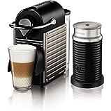 Cafetera Nespresso Pixie con Espumador de leche, Color Titan. (Incluye obsequio de 14 cápsulas de café)