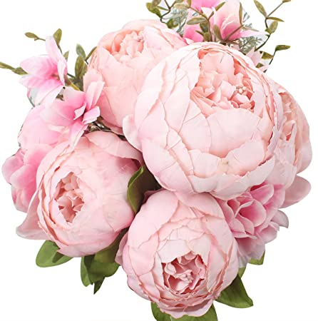 Xiuer vintage artificial flowers fake peony flowers bouquet glorious xiuer vintage artificial flowers fake peony flowers bouquet glorious wedding home bridal decoration pink mightylinksfo