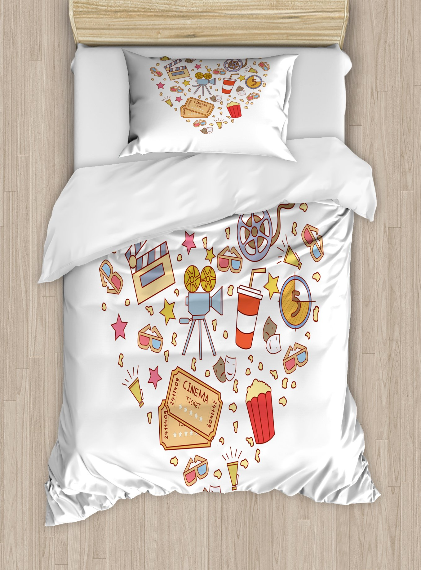 Ambesonne Movie Theater Twin Size Duvet Cover Set, Cinema Attribute Love Retro Icons Collection in The Shape of a Heart Colorful, Decorative 2 Piece Bedding Set with 1 Pillow Sham, Multicolor