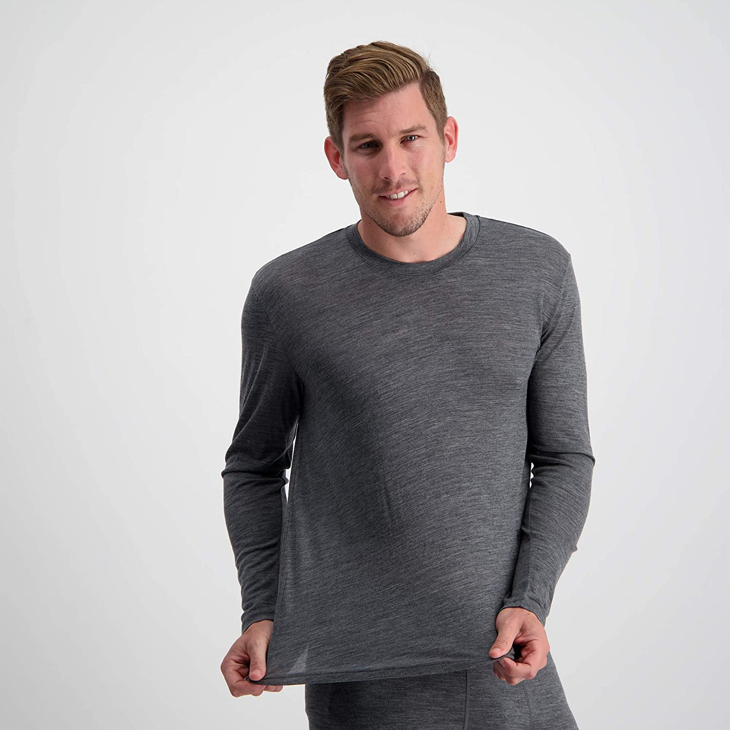 Mens 100/% Pure Soft Merino Thermal Base Layer Wool Top Black or Charcoal