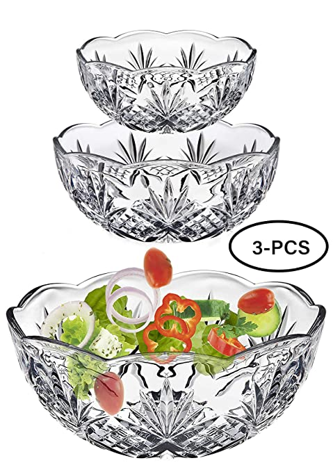 Amazon Com Large Crystal Salad Serving Bowl Set Of 3 Glass Mixing