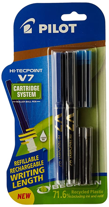 Pilot V7 Hi-tecpoint Pen with cartridge system - 1 Blue, 1 Black Pen