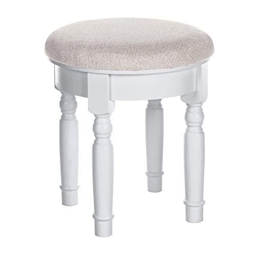 SONGMICS Vanity Makeup Dressing Stool, Padded Bench with Rubberwood Legs, Holds 286 lb, Simple Assembly, Bedroom, Bathroom, White URDS108WT