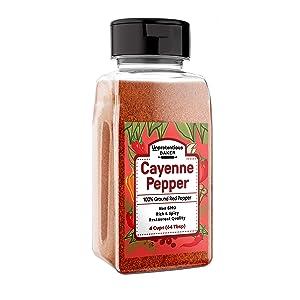 Ground Cayenne Pepper (4 Cup Shaker) 100% Pure & Natural, Fresh, Non-GMO & Gluten-Free