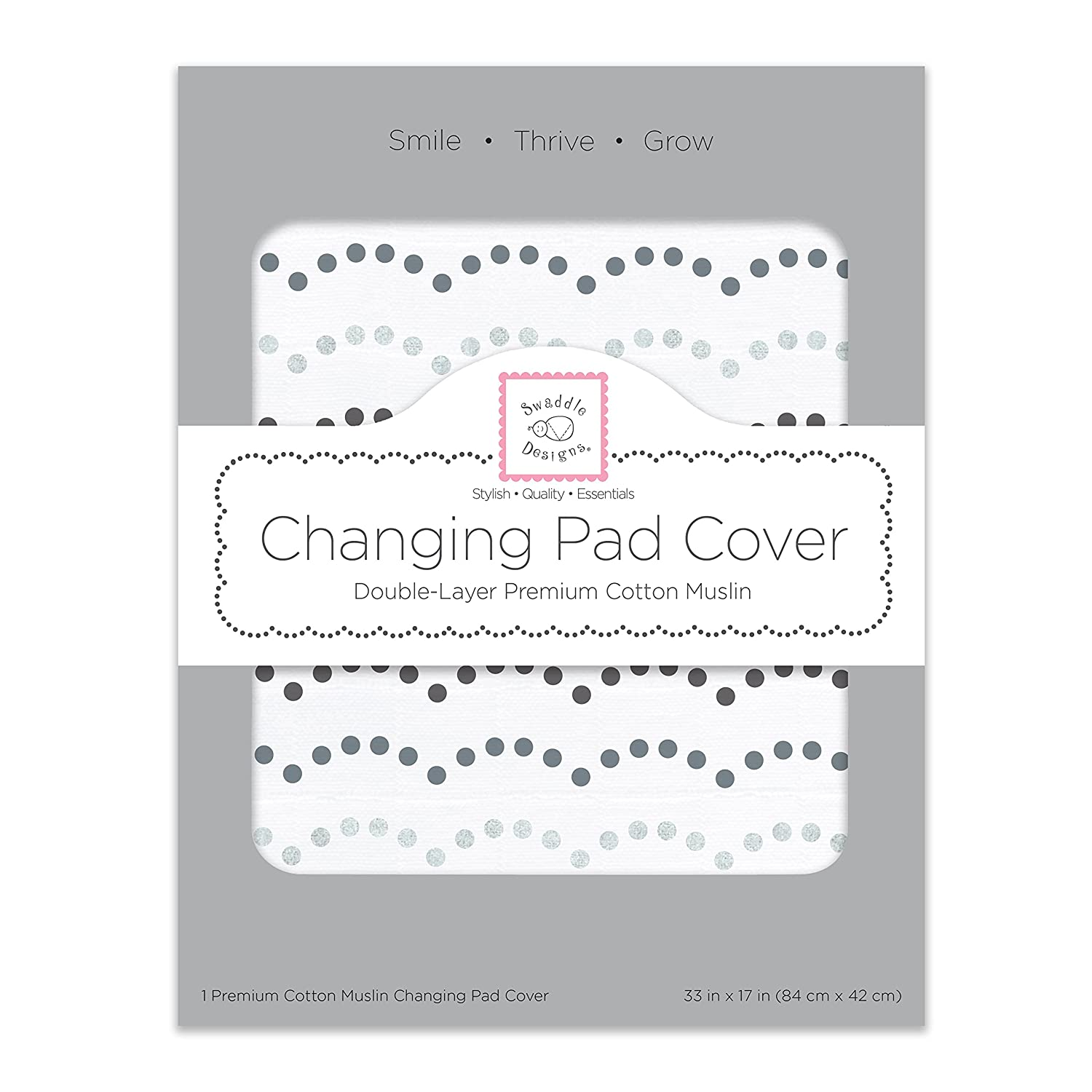 SwaddleDesigns Cotton 2-Layer Muslin Changing Pad Cover Sterling Starshine Shimmer
