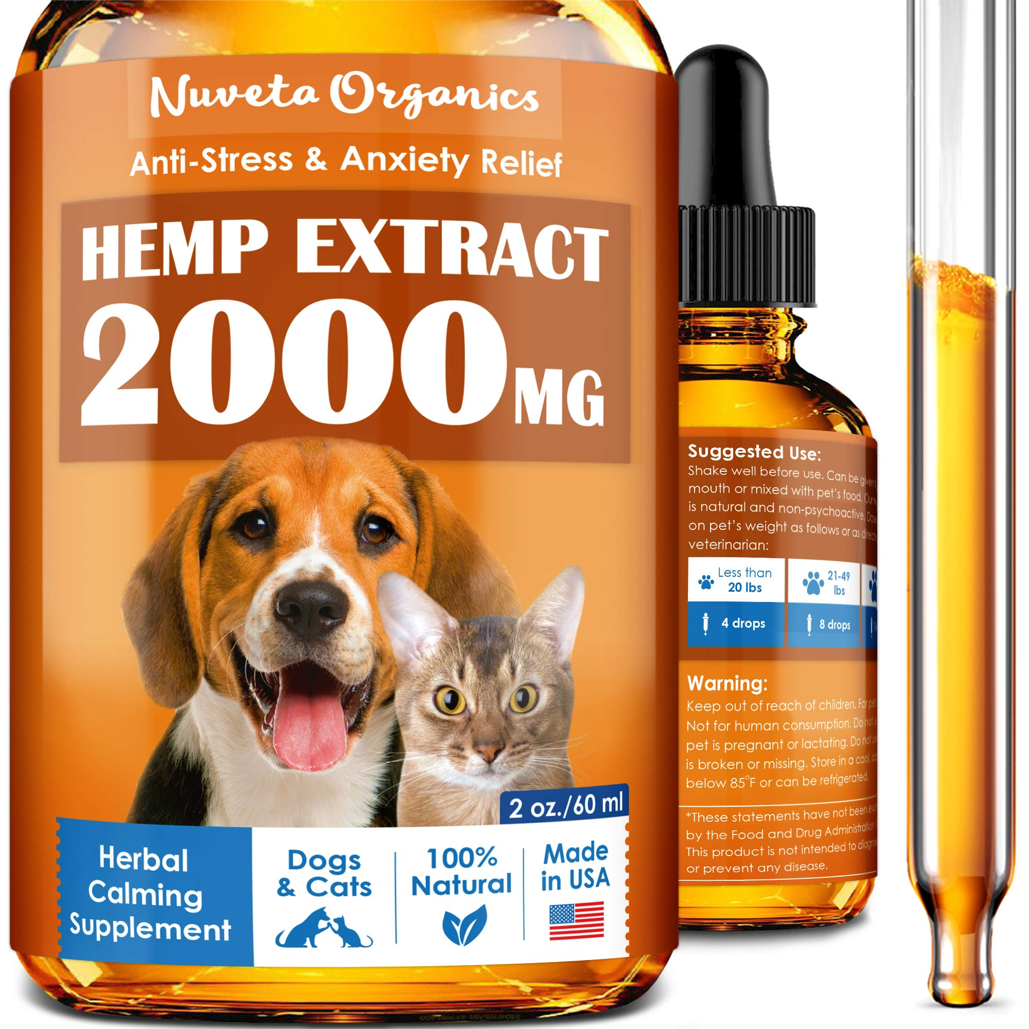 Hemp Oil for Dogs & Cats 2000mg - Made in USA - Stress and Inflammation Relief - Hip & Joint Support for Pets - Premium Hemp Extract for Separation Anxiety and Fear of Storms - Natural Calming Effect by Nuveta Organics