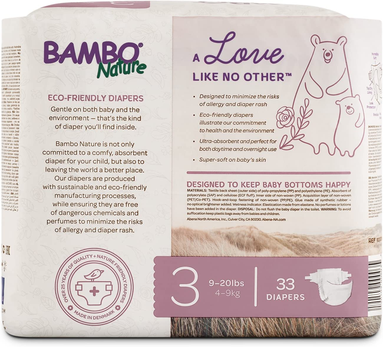 132 Count Bambo Nature Eco Friendly Premium Nappies for Sensitive Skin 35-66 lbs // 16-30 kg Size 6 6 Packs of 22