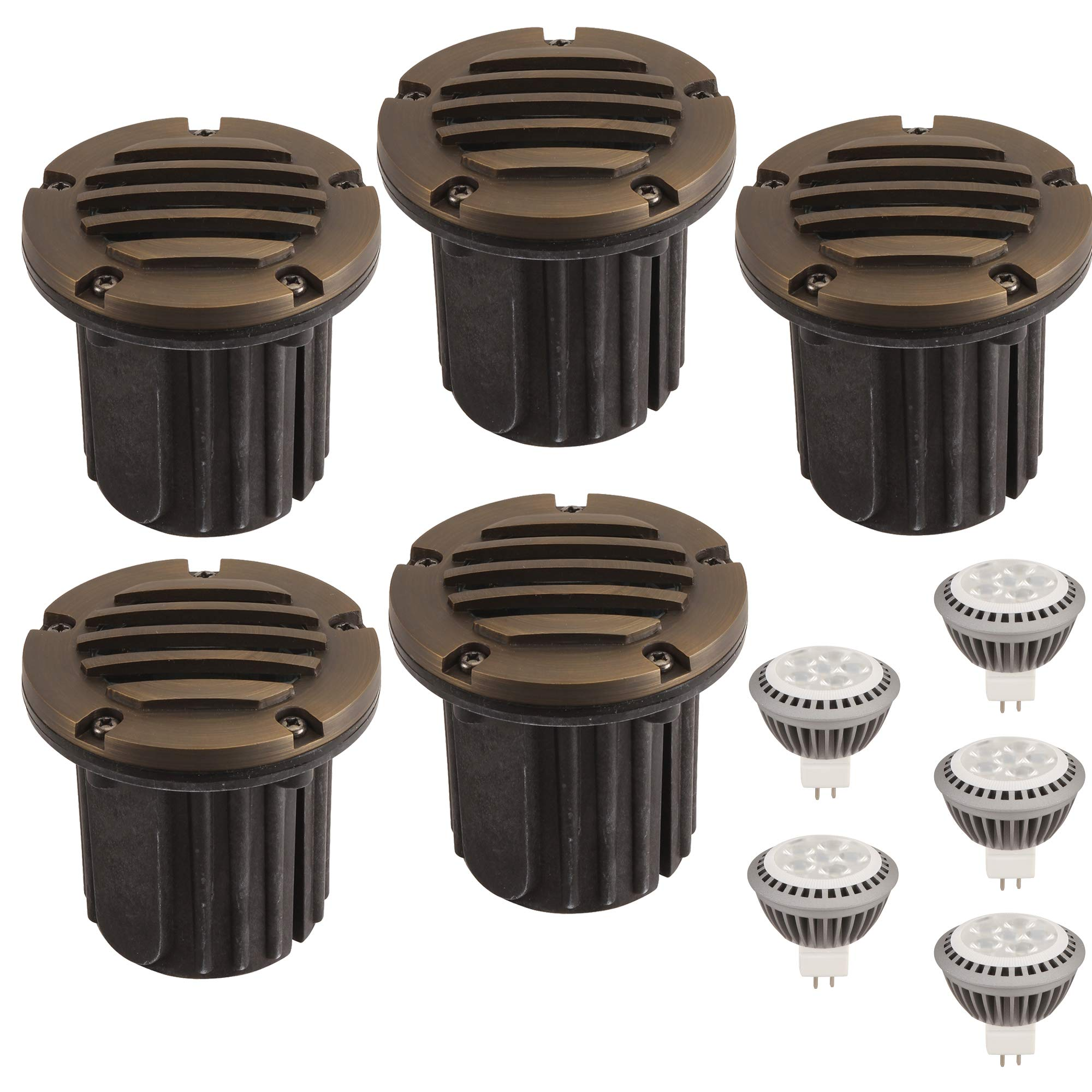 LFU Pack of 5 Solid Brass Constructed Well/In Ground Lights with 5 LED MR16 3W Warm White Bulbs (Model LF3002AB Volos). Low Voltage.