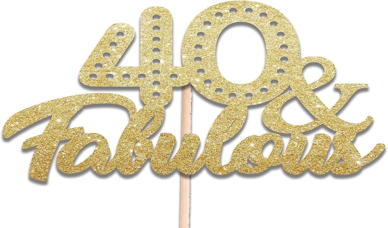 40 y fabulosa decoración para tarta para dorado con purpurina y cuarenta de cumpleaños cuadragésimo Toppers Para Cupcakes: Amazon.es: Hogar