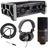 Tascam US-1X2 Audio & MIDI Interface with MXL 770 Microphone, Headphones & Cable