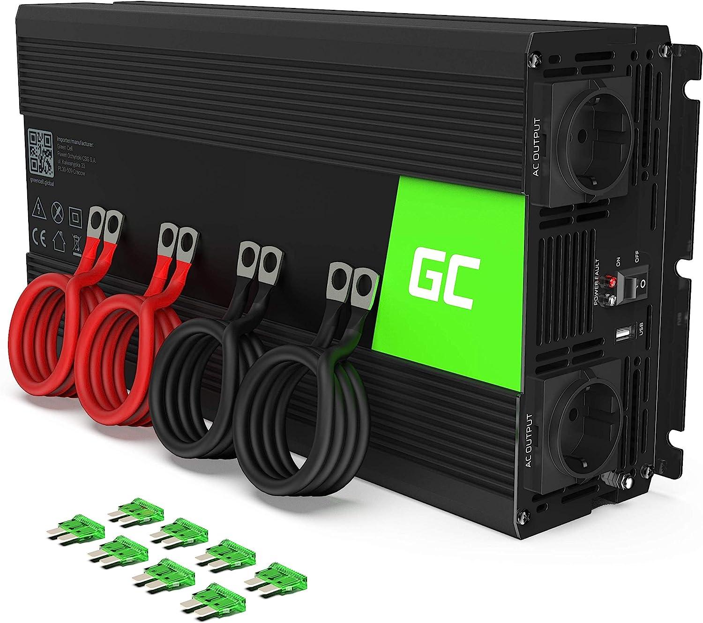 Green Cell® 1500W/3000W Onda sinusoidal Pura Inversor de Corriente Power Inverter DC 24V AC 220V, Transformador de Voltaje para Coche con Puerto USB y Pinzas de conexión a batería