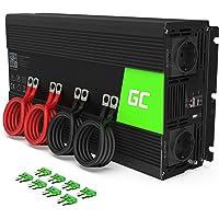 Green Cell® 2000W/4000W Onda sinusoidal modificada Inversor de Corriente Power Inverter DC 12V AC 220V, Transformador de Voltaje para Coche con Puerto USB y Pinzas de conexión a batería