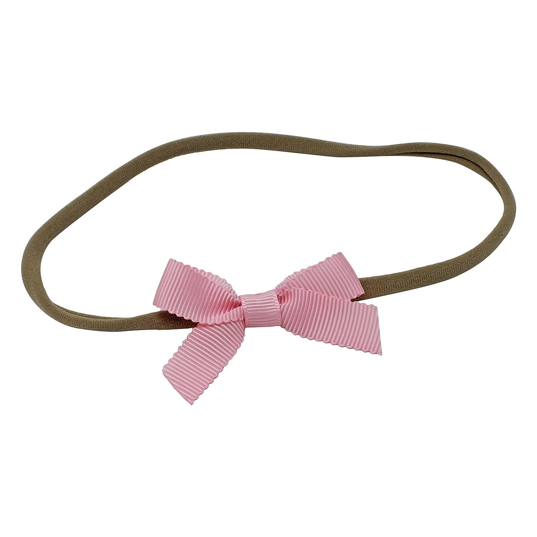 Rose clair Nœud pour bébé fille gros-grain Bandeau Cheveux élastique en nylon Band fabriquée à la main