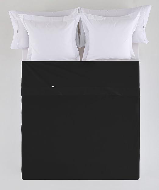ESTELA - Sábana encimera Combi Color Negro - Cama de 90 cm. - 50% Algodón / 50% Poliéster - 144 Hilos: Amazon.es: Hogar