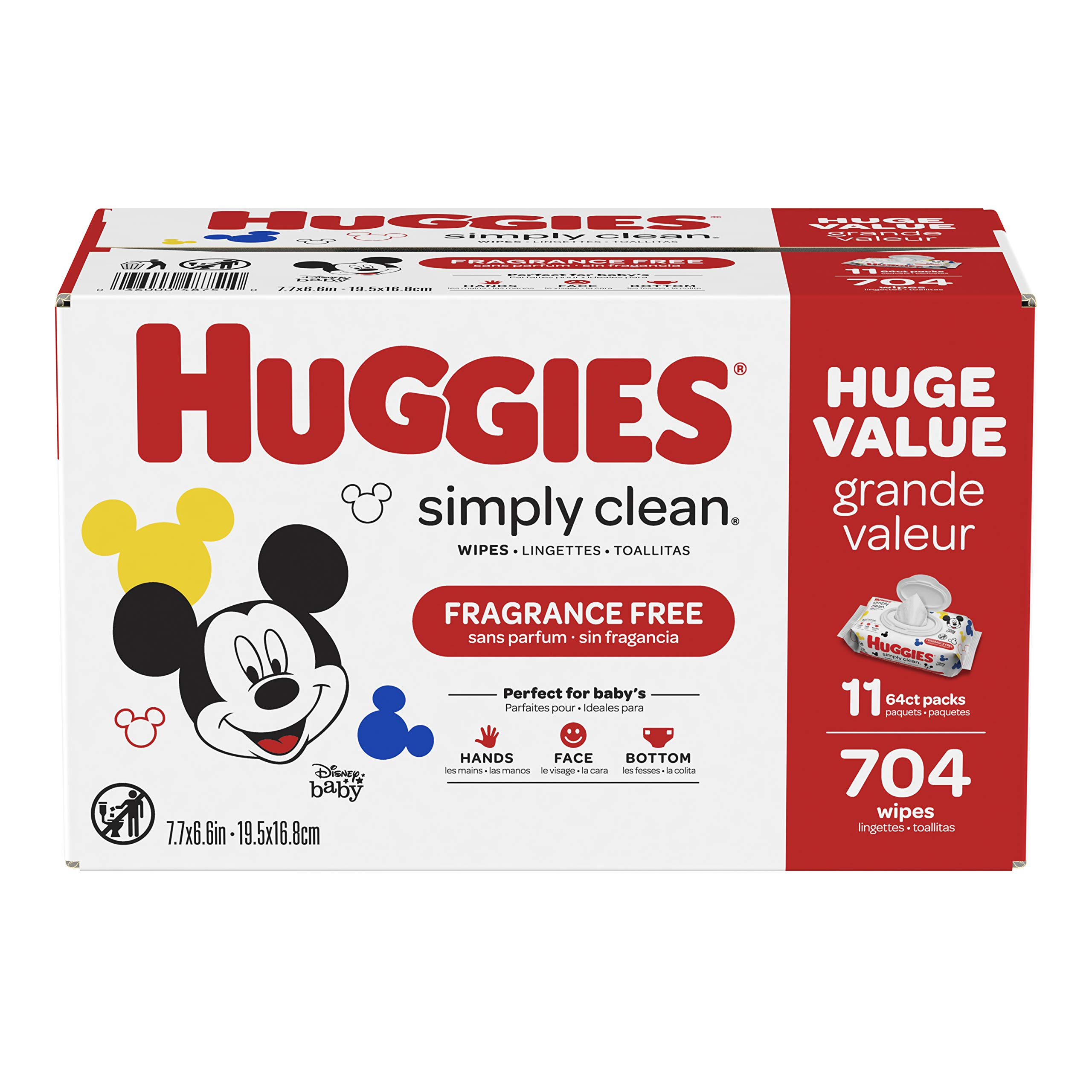 HUGGIES Simply Clean Fragrance-free Baby Wipes, Soft Pack (11-Pack, 704 Sheets Total), Alcohol-free, Hypoallergenic (Packaging May Vary) by HUGGIES