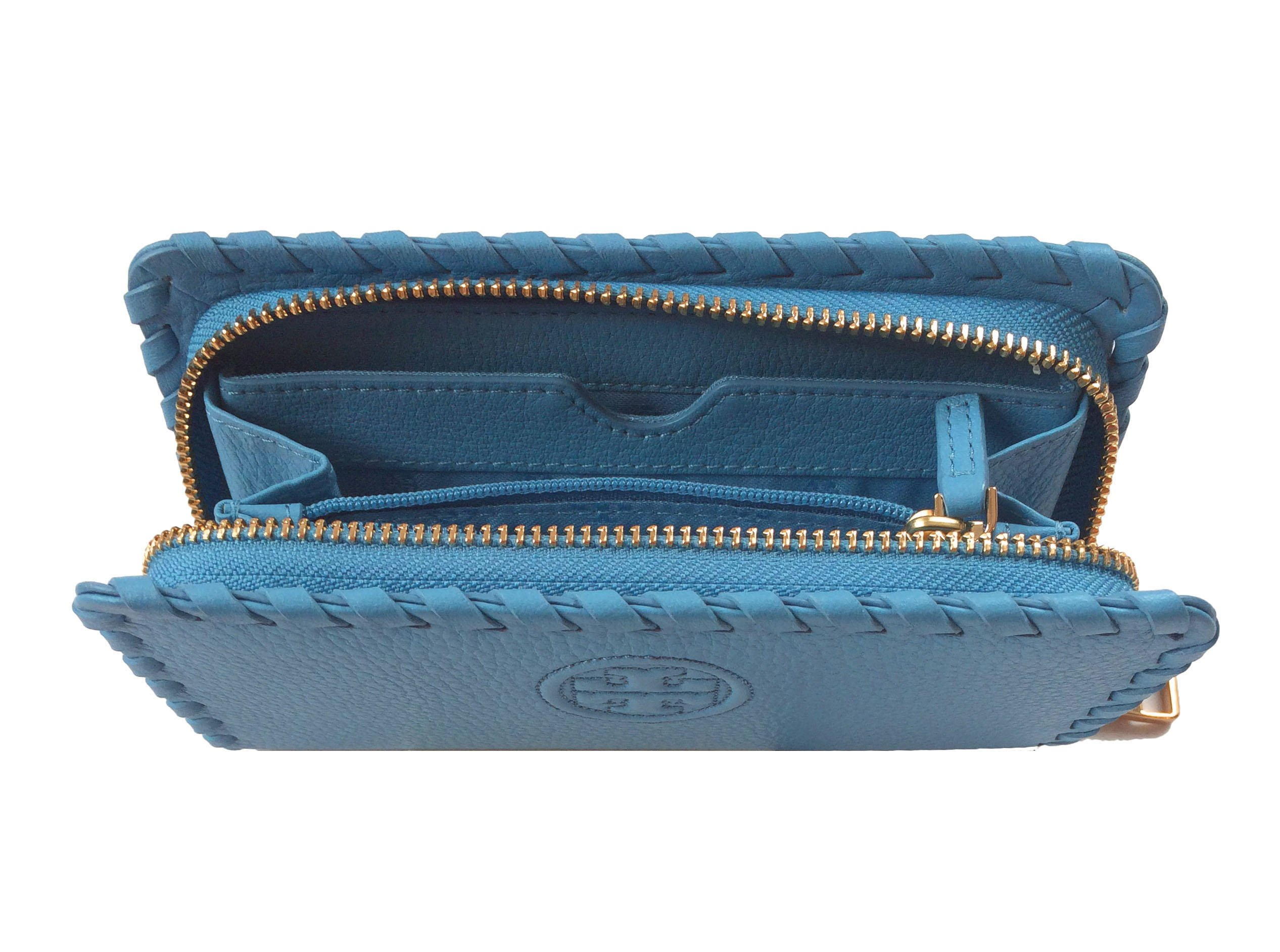 Tory Burch Marion Leather Smartphone Wristlet (Montego Blue) by Tory Burch (Image #3)