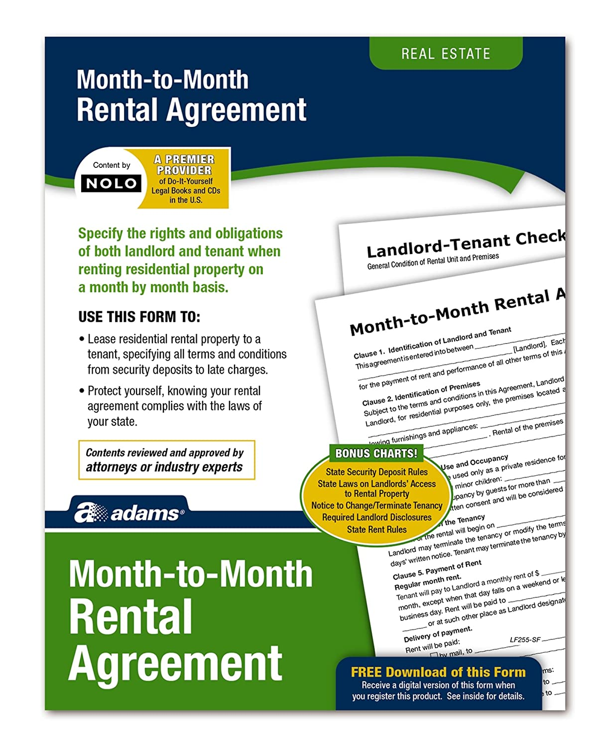 Amazon Adams Month To Month Rental Agreement Forms And