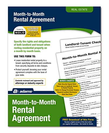 AmazonCom  Adams MonthToMonth Rental Agreement Forms And