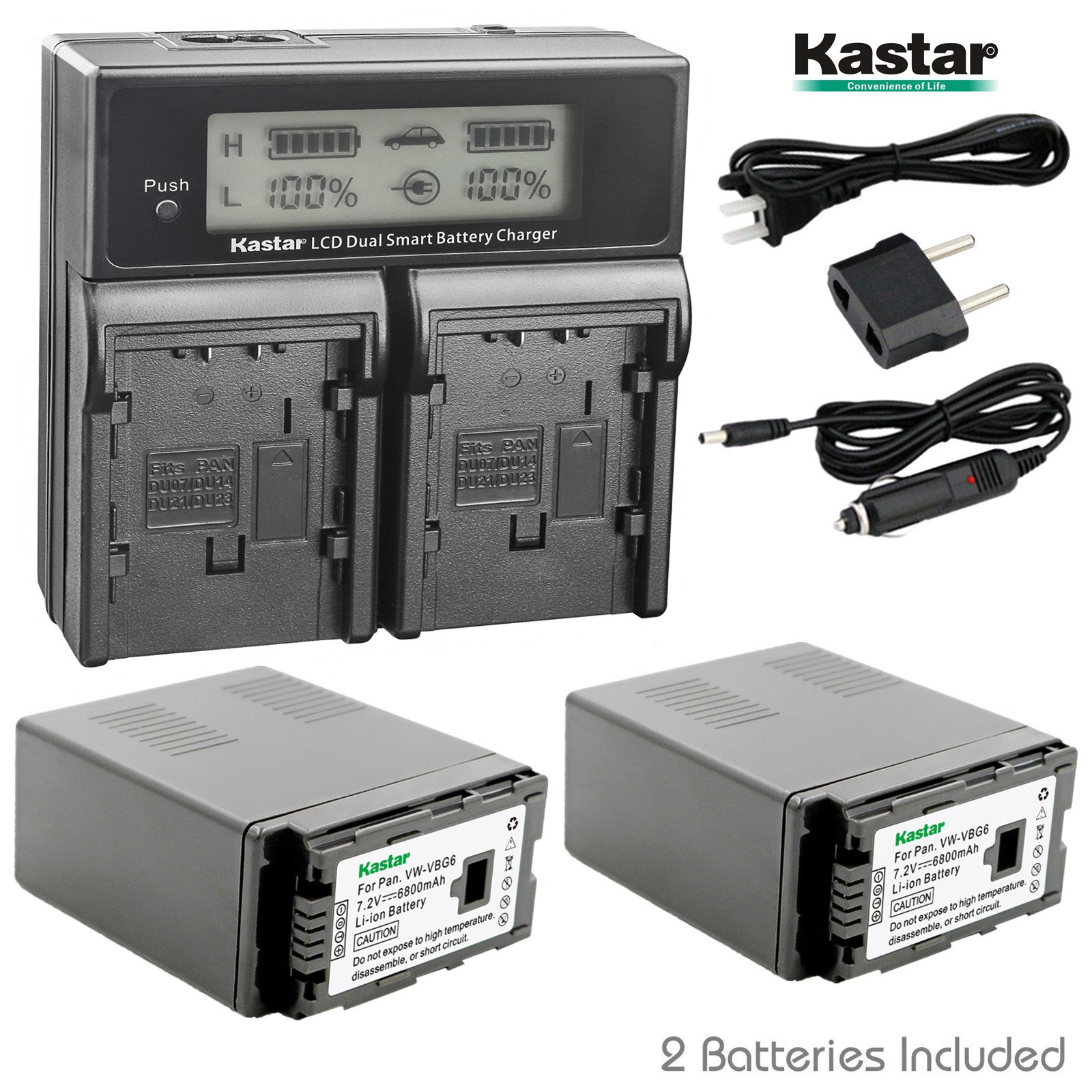 Kastar LCD Dual Smart Fast Charger & 2 x Battery for Panasonic VW-VBG6 VWVBG6 VBG6 Li-Ion Camcorder Battery and Panasonic AG-AC160A, AG-AC7, AG-AC130A, AG-AC160A, AG-HMC40, AG-HMC70, AG-HMC150 by Kastar