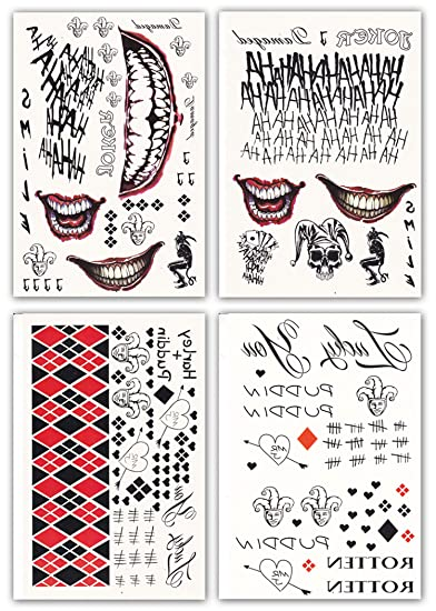 2d825528c DaLin 4 Large Sheets HQ & Joker Temporary Tattoo Stickers SS Full Body  Bundle for Costume
